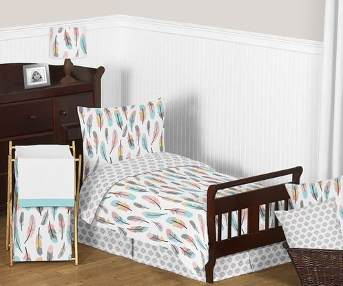 Feather Girl Toddler Bedding - 5pc Set by Sweet Jojo Designs - Click to enlarge