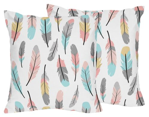 Feather Print Decorative Accent Throw Pillows for Feather Collection - Set of 2 - Click to enlarge