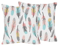 Feather Print Decorative Accent Throw Pillows for Feather Collection - Set of 2