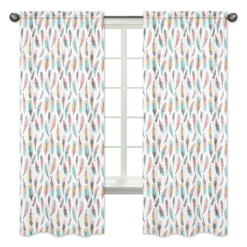 Feather Print Window Treatment Panels for Feather Collection by Sweet Jojo Designs - Set of 2 - Click to enlarge