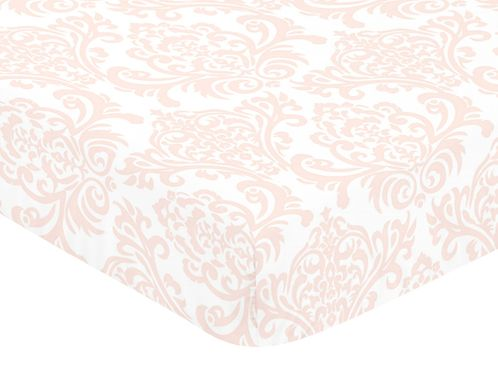 Fitted Crib Sheet for Amelia Baby/Toddler Bedding by Sweet Jojo Designs - Damask Print - Click to enlarge
