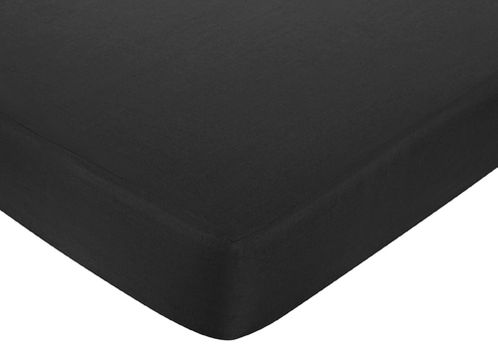 Fitted Crib Sheet for Baby and Toddler Bedding Sets by Sweet Jojo Designs - Solid Black Cotton - Click to enlarge