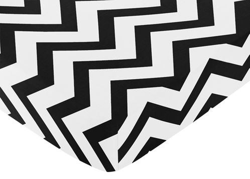 Fitted Crib Sheet for Black and White Chevron Baby/Toddler Bedding by Sweet Jojo Designs - Zig Zag Print - Click to enlarge