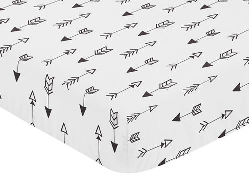 Fitted Crib Sheet for Black and White Fox Collection Baby/Toddler Bedding by Sweet Jojo Designs - Arrow Print - Click to enlarge