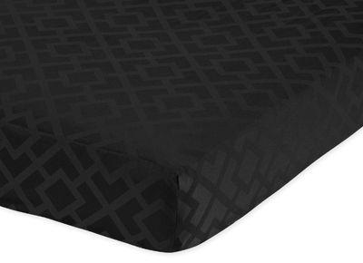 Fitted Crib Sheet for Black Diamond Jacquard Modern Baby/Toddler Bedding by Sweet Jojo Designs - Jacquard - Click to enlarge