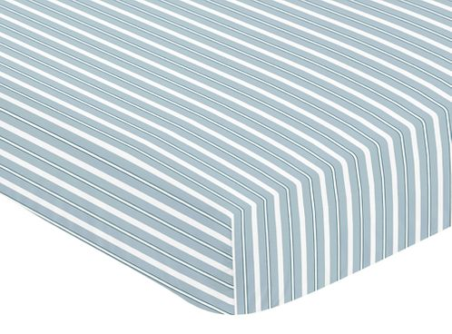 Fitted Crib Sheet for Blue and Green Argyle Baby and Toddler Bedding by Sweet Jojo Designs - Stripe - Click to enlarge