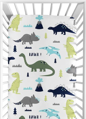 Fitted Crib Sheet for Blue and Green Mod Dinosaur Baby/Toddler Bedding by Sweet Jojo Designs - Click to enlarge