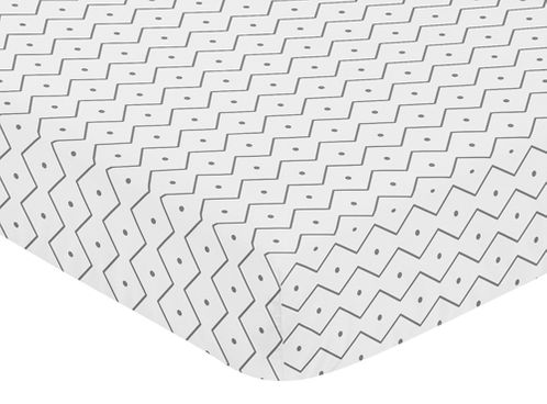 Fitted Crib Sheet for Blue and Green Mod Dinosaur Baby/Toddler Bedding by Sweet Jojo Designs - Grey Chevron Prehistoric Print - Click to enlarge