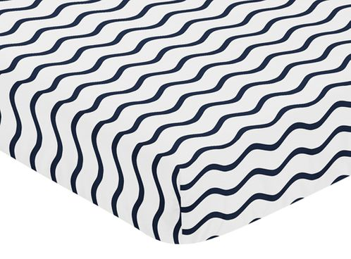 Fitted Crib Sheet for Blue Whale Baby/Toddler Bedding by Sweet Jojo Designs - Chevron Wave Print - Click to enlarge