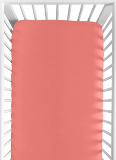 Fitted Crib Sheet for Coral and White Diamond Baby/Toddler Bedding by Sweet Jojo Designs - Coral