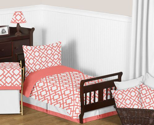 Coral and White Diamond Toddler Bedding - 5pc Set by Sweet Jojo Designs - Click to enlarge