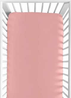 Fitted Crib Sheet for Coral, Mint and Grey Woodsy Baby/Toddler Bedding by Sweet Jojo Designs - Solid Coral