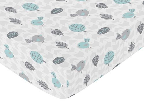 Fitted Crib Sheet for Earth and Sky Baby/Toddler Bedding by Sweet Jojo Designs - Bird Print - Click to enlarge