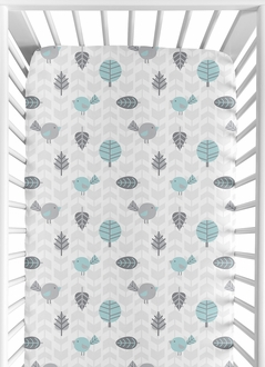 Fitted Crib Sheet for Earth and Sky Baby/Toddler Bedding by Sweet Jojo Designs - Bird Print
