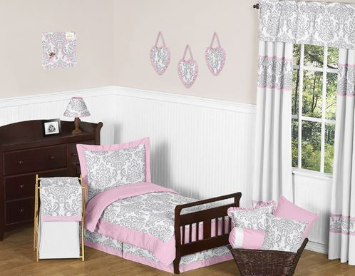 Pink, Gray and White Elizabeth Toddler Bedding - 5pc Set by Sweet Jojo Designs - Click to enlarge