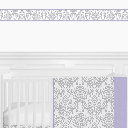 Lavender and Gray Elizabeth Baby Bedding - 9pc Crib Set by Sweet Jojo Designs - Click to enlarge