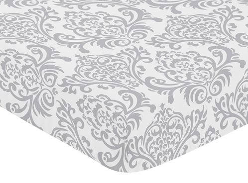 Fitted Crib Sheet for Elizabeth Baby/Toddler Bedding by Sweet Jojo Designs - Damask Print - Click to enlarge
