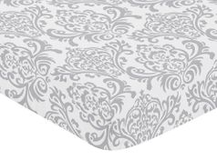 Fitted Crib Sheet for Elizabeth Baby/Toddler Bedding by Sweet Jojo Designs - Damask Print