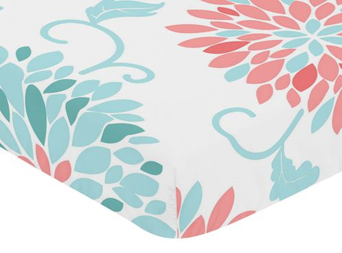 Fitted Crib Sheet for Emma Baby/Toddler Bedding by Sweet Jojo Designs - Floral Print - Click to enlarge