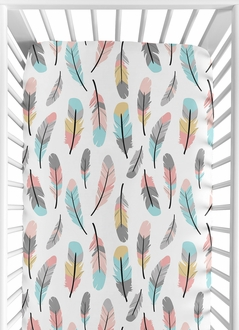 Fitted Crib Sheet for Feather Baby/Toddler Bedding by Sweet Jojo Designs