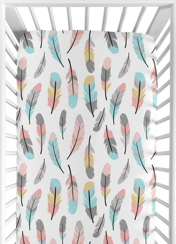 Fitted Crib Sheet for Feather Baby/Toddler Bedding by Sweet Jojo Designs - Click to enlarge