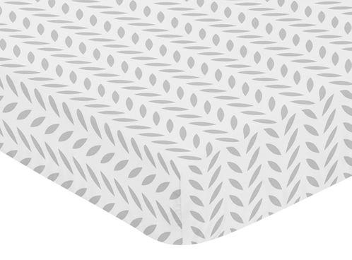 Fitted Crib Sheet for Forest Deer and Dandelion Baby/Toddler Bedding by Sweet Jojo Designs - Grey and White Leaf Print - Click to enlarge