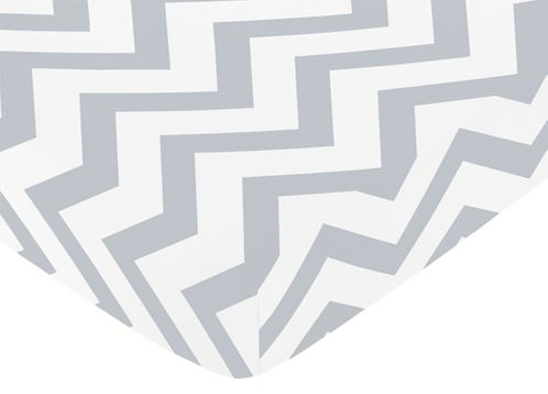 Fitted Crib Sheet for Gray and White Chevron Baby/Toddler Bedding by Sweet Jojo Designs - Zig Zag Print - Click to enlarge
