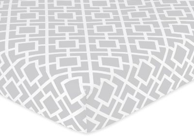 Fitted Crib Sheet for Gray and White Diamond Baby/Toddler Bedding by Sweet Jojo Designs - Diamond Print - Click to enlarge