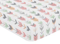 Fitted Crib Sheet for Grey, Coral and Mint Woodland Arrow Baby/Toddler Bedding by Sweet Jojo Designs - Arrow Print