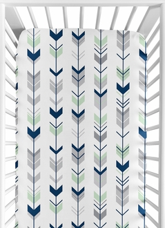 Fitted Crib Sheet for Grey, Navy Blue and Mint Woodland Arrow Baby/Toddler Bedding by Sweet Jojo Designs - Arrow Print