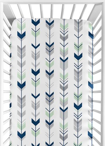 Fitted Crib Sheet for Grey, Navy Blue and Mint Woodland Arrow Baby/Toddler Bedding by Sweet Jojo Designs - Arrow Print - Click to enlarge