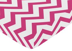 Fitted Crib Sheet for Hot Pink and White Chevron Baby/Toddler Bedding by Sweet Jojo Designs - Zig Zag Print