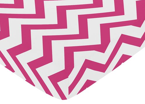 Fitted Crib Sheet for Hot Pink and White Chevron Baby/Toddler Bedding by Sweet Jojo Designs - Zig Zag Print - Click to enlarge