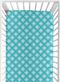 Fitted Crib Sheet for Mod Elephant Baby/Toddler Bedding by Sweet Jojo Designs - Diamond Print