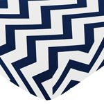 Fitted Crib Sheet for Navy and White Chevron Baby/Toddler Bedding by Sweet Jojo Designs - Zig Zag Print