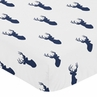 Fitted Crib Sheet for Navy and White Woodland Deer Baby/Toddler Bedding by Sweet Jojo Designs - Deer Print
