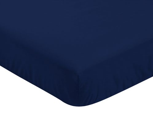 Fitted Crib Sheet for Navy, Mint and Grey Woodsy Baby/Toddler Bedding by Sweet Jojo Designs - Solid Navy Blue - Click to enlarge
