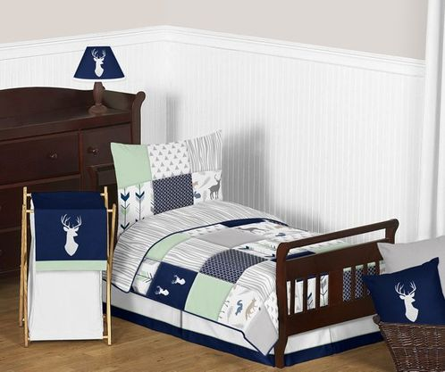 Navy Blue, Mint and Grey Woodsy Deer Boy Toddler Bedding - 5pc Set by Sweet Jojo Designs - Click to enlarge