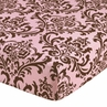 Fitted Crib Sheet for Pink and Chocolate Nicole Baby/Toddler Bedding by Sweet Jojo Designs - Damask Print