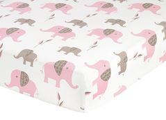 Fitted Crib Sheet for Pink and Taupe Elephant Baby/Toddler Bedding by Sweet Jojo Designs - Elephant Print