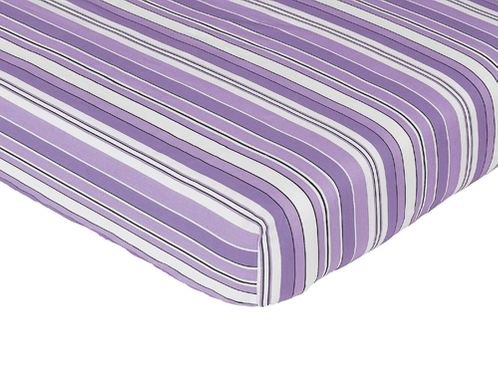Fitted Crib Sheet for Purple and Black Kaylee Baby/Toddler Bedding by Sweet Jojo Designs - Stripe Print - Click to enlarge