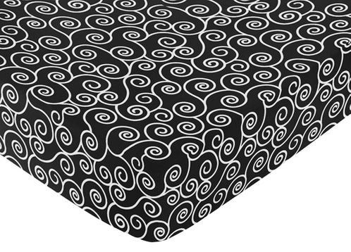 Fitted Crib Sheet for Purple and Black Kaylee Baby/Toddler Bedding by Sweet Jojo Designs - Swirl Print - Click to enlarge