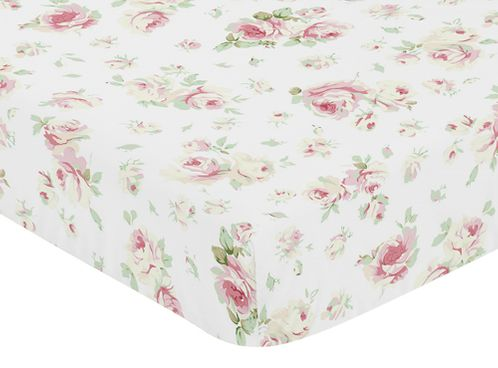 Fitted Crib Sheet for Riley's Roses Baby and Toddler Bedding Sets by Sweet Jojo Designs - Rose Print - Click to enlarge