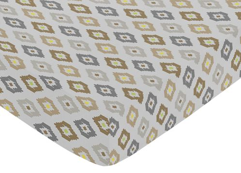Fitted Crib Sheet for Safari Outback Baby/Toddler Bedding by Sweet Jojo Designs - Ikat Print - Click to enlarge