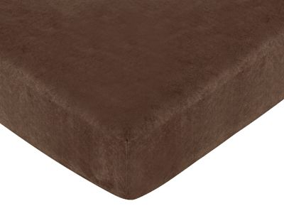 Fitted Crib Sheet for Sea Turtle Baby/Toddler Bedding by Sweet Jojo Designs - Chocolate Brown Microsuede - Click to enlarge