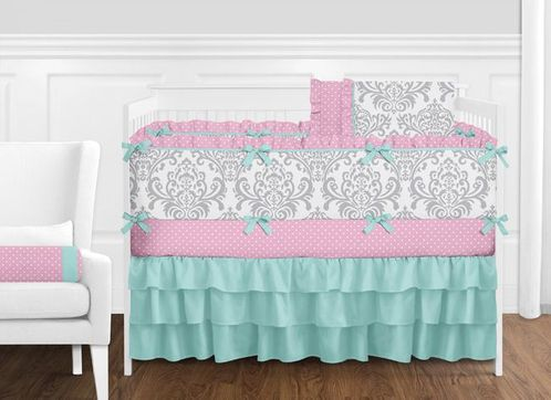 Pink, Gray and Turquoise Skylar Baby Bedding - 9pc Girls Crib Set by Sweet Jojo Designs - Click to enlarge