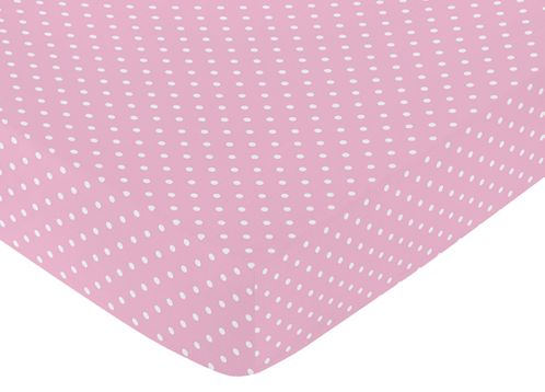 Fitted Crib Sheet for Skylar Baby/Toddler Bedding by Sweet Jojo Designs - Pink Polka Dot - Click to enlarge