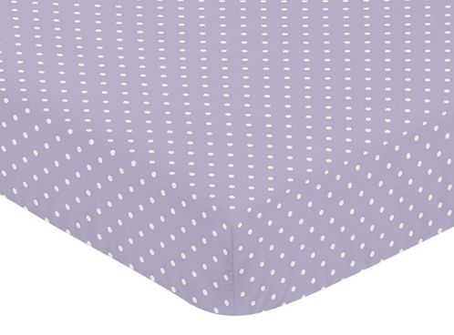 Fitted Crib Sheet for Sloane Baby/Toddler Bedding by Sweet Jojo Designs - Lavender Polka Dot - Click to enlarge