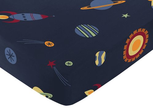 Fitted Crib Sheet for Space Galaxy Baby/Toddler Bedding by Sweet Jojo Designs - Print - Click to enlarge