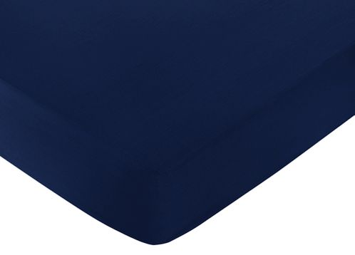 Fitted Crib Sheet for Stripe Baby and Toddler Bedding by Sweet Jojo Designs - Navy Blue - Click to enlarge